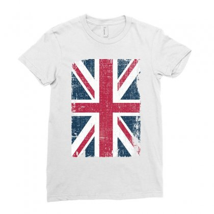 Britain Grunge Flag Ladies Fitted T-shirt Designed By Sengul