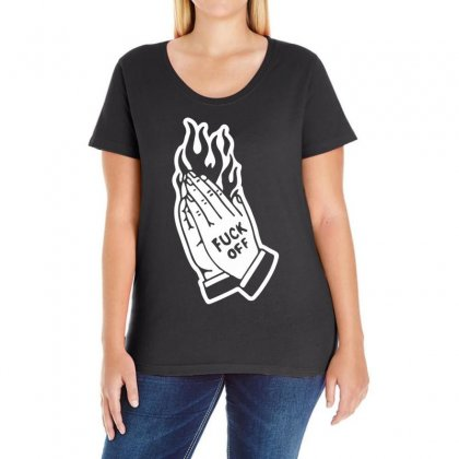 Fuck Off Ladies Curvy T-shirt Designed By Black White