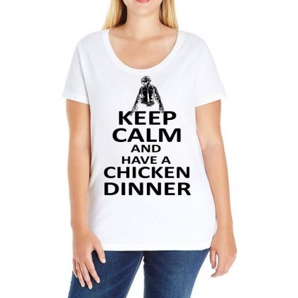 Keep Calm And Have A Chicken Dinner Black Design Ladies Curvy T-shirt Designed By Hot Design