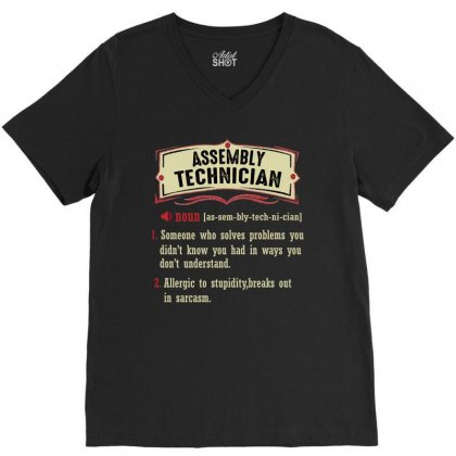 Assembly Technician Dictionary Term Sarcastic V-neck Tee Designed By Wizarts