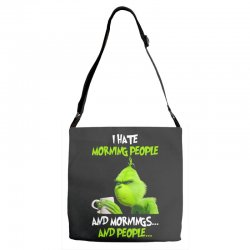 the grinch i hate morning people and mornings and people Adjustable Strap Totes | Artistshot