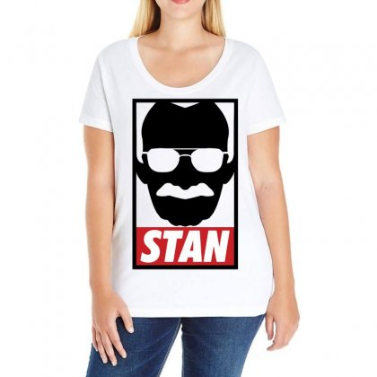 Stan Lee Hero Legend (black) Ladies Curvy T-shirt Designed By Black White