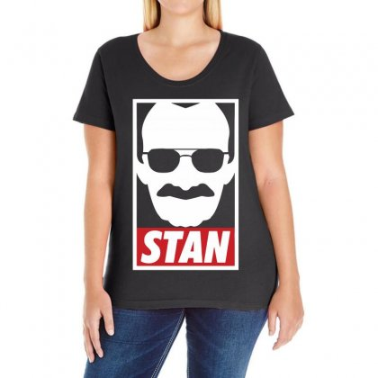 Stan Lee Hero Legend Ladies Curvy T-shirt Designed By Black White