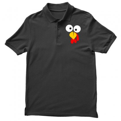 Turkey Face Funny Thanksgiving Men's Polo Shirt Designed By Meza Design