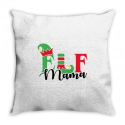 elf mama christmas family matching black Throw Pillow | Artistshot