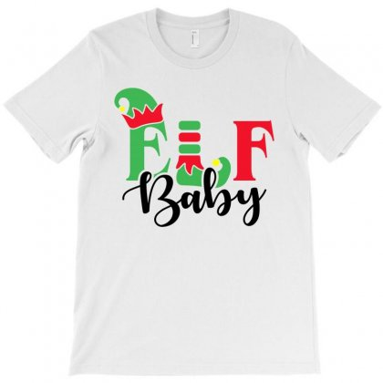 Elf Baby Christmas Family Matching Black T-shirt Designed By Akin
