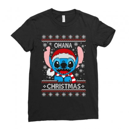 Ohana Christmas Ladies Fitted T-shirt Designed By Wizarts