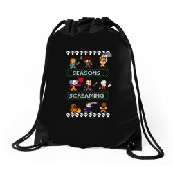 neatoshop seasons screamings ugly christmas Drawstring Bags | Artistshot