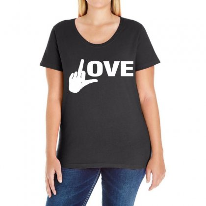 Fucking Love Ladies Curvy T-shirt Designed By Black White