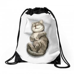 CAT SLEEPING Drawstring Bags | Artistshot