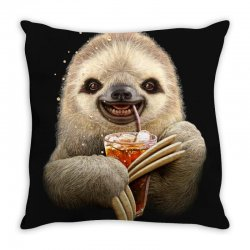 sloth & soft drink Throw Pillow | Artistshot