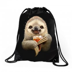 sloth & soft drink Drawstring Bags | Artistshot