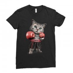 boxing cat Ladies Fitted T-Shirt | Artistshot