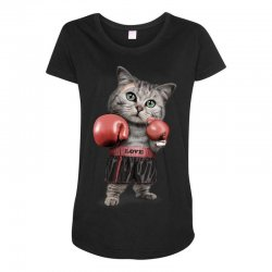 boxing cat Maternity Scoop Neck T-shirt | Artistshot