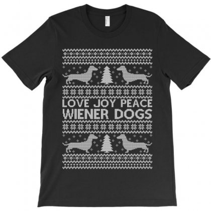 Love Joy Peace Wiener Dogs For Dark T-shirt Designed By Zeynepu