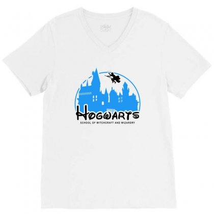 Hogwarts School Of Witchcraft And Wizardry For Light V-neck Tee Designed By Akin