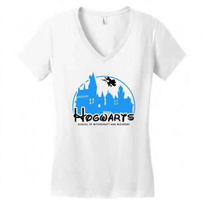 Hogwarts School Of Witchcraft And Wizardry For Light Women's V-neck T-shirt Designed By Akin