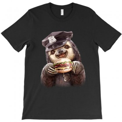 Sloth Enjoys Burger T-shirt Designed By Adam Jumali Lawless