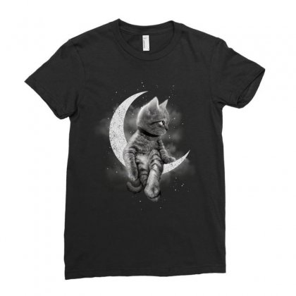 Crescent Cat Ladies Fitted T-shirt Designed By Adam Jumali Lawless