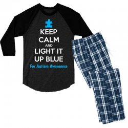 Keep Calm And Light It Up Blue For Autism Awareness Men's 3/4 Sleeve Pajama Set | Artistshot