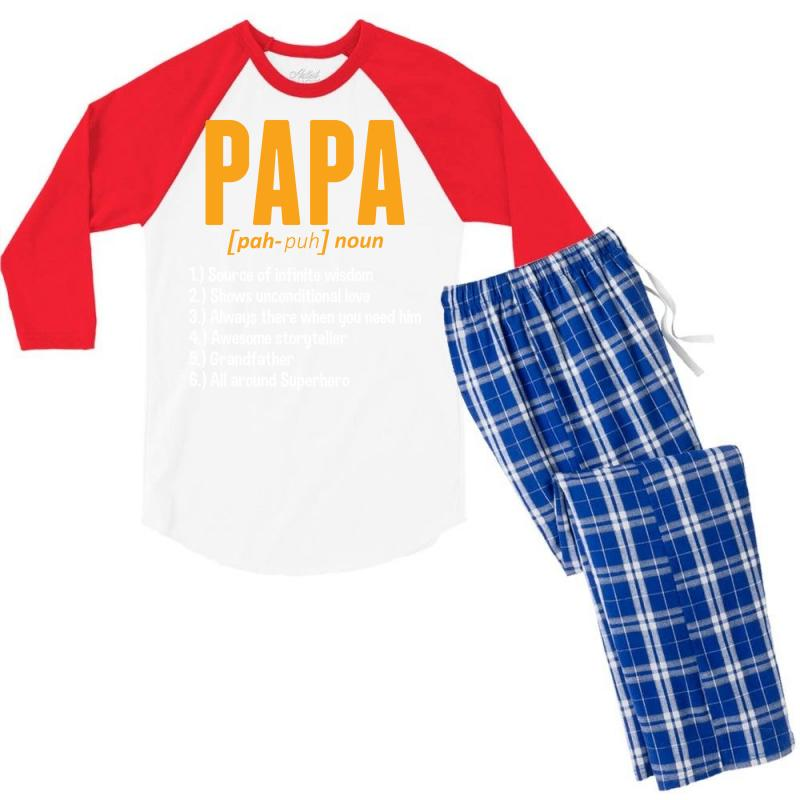 Custom Papa Noun Definition Men s 3 4 Sleeve Pajama Set By Tshiart ... 46f7bf54a