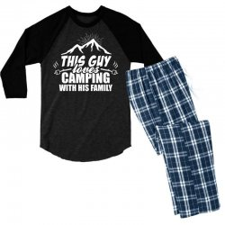This Guy Loves Camping With His Family Men's 3/4 Sleeve Pajama Set | Artistshot