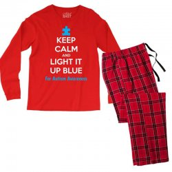 Keep Calm And Light It Up Blue For Autism Awareness Men's Long Sleeve Pajama Set | Artistshot