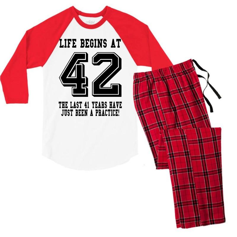 42nd Birthday Life Begins At 42 Men's 3/4 Sleeve Pajama Set | Artistshot