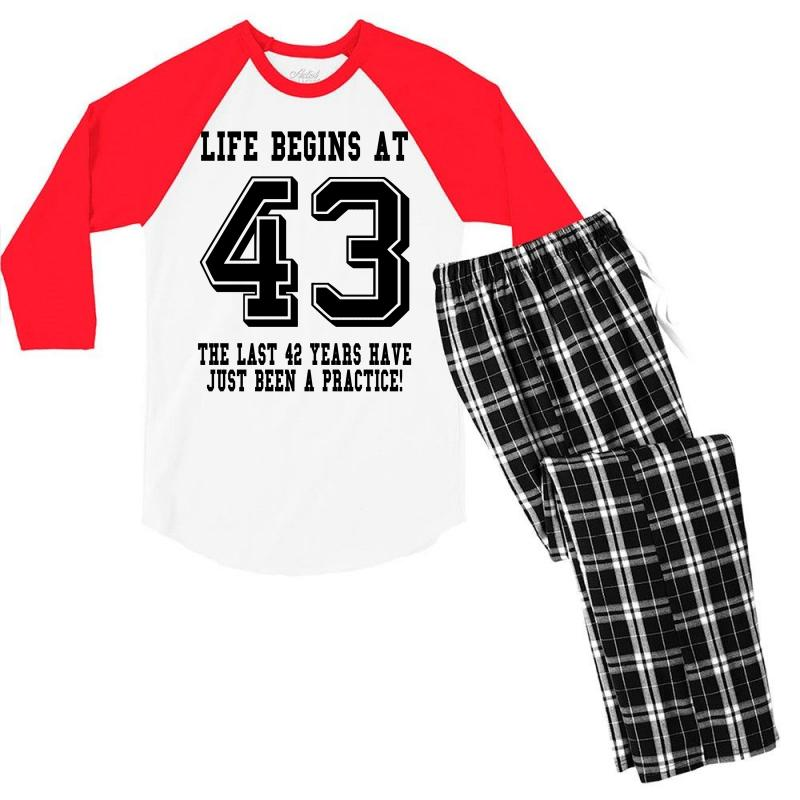 43rd Birthday Life Begins At 43 Men's 3/4 Sleeve Pajama Set | Artistshot