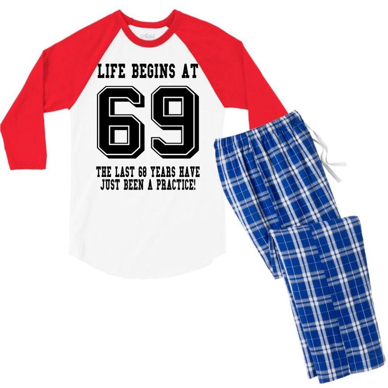 69th Birthday Life Begins At 69 Men's 3/4 Sleeve Pajama Set | Artistshot