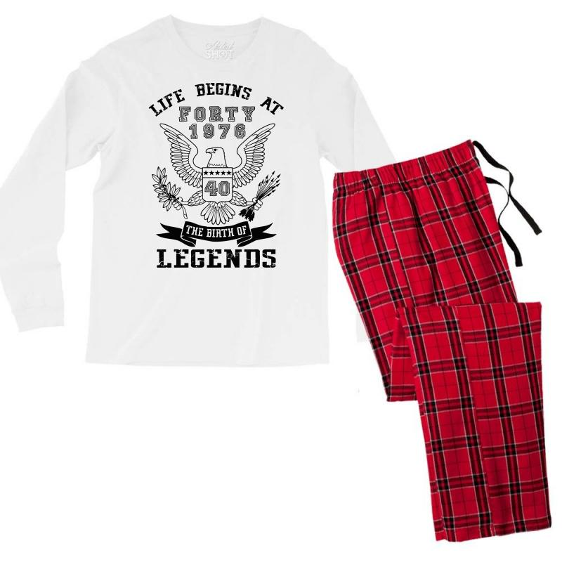 Life Begins At Forty 1976 The Birth Of Legends Men's Long Sleeve Pajama Set | Artistshot
