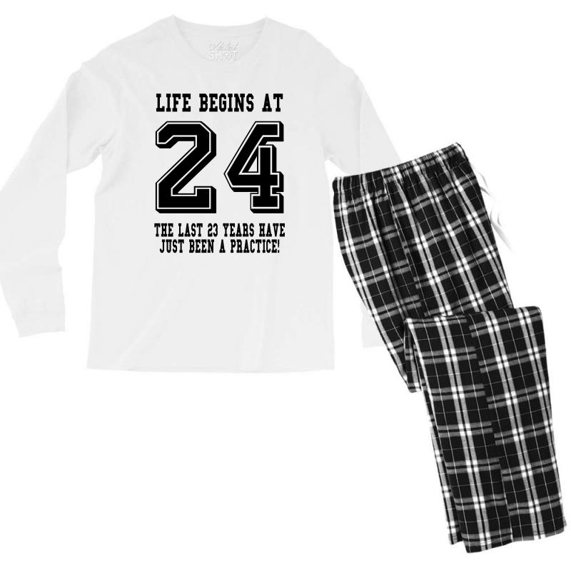 24th Birthday Life Begins At 24 Men's Long Sleeve Pajama Set | Artistshot