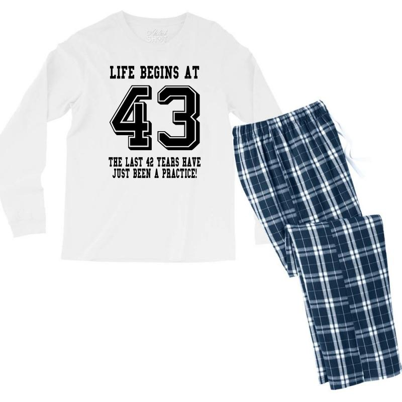43rd Birthday Life Begins At 43 Men's Long Sleeve Pajama Set | Artistshot