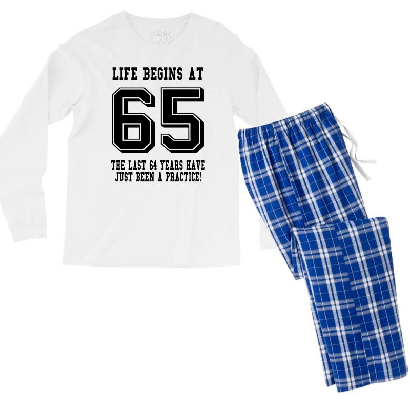65th Birthday Life Begins At 65 Men's Long Sleeve Pajama Set | Artistshot