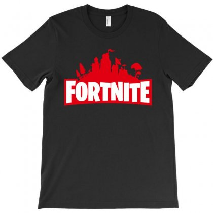 Fortnite Red Logo For Black T-shirt Designed By Akin