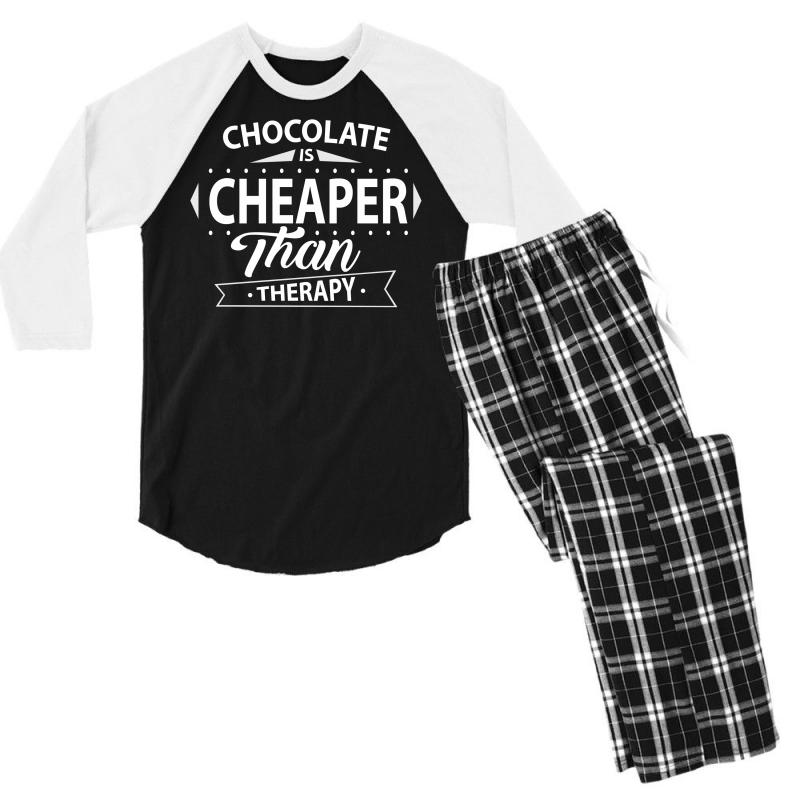 258838f0c94f Custom Chocolate Is Cheaper Than Therapy Men s 3 4 Sleeve Pajama Set ...