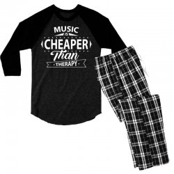 Music Is Cheaper Than Therapy Men's 3/4 Sleeve Pajama Set | Artistshot