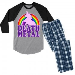 funny death metal unicorn rainbow Men's 3/4 Sleeve Pajama Set | Artistshot