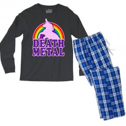 funny death metal unicorn rainbow Men's Long Sleeve Pajama Set | Artistshot