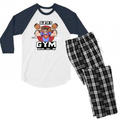 funny gym sloth the goonies fitness t shirt vectorized Men's 3/4 Sleeve Pajama Set | Artistshot