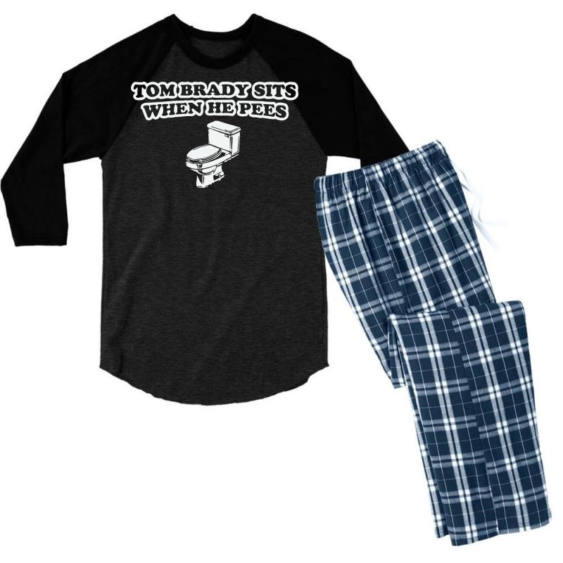 a6d24026 Indianapolis Colts T Shirt Tom Brady Sits When He Pees Funny Jersey Andrew  Luck Men's 3/4 Sleeve Pajama Set. By Artistshot