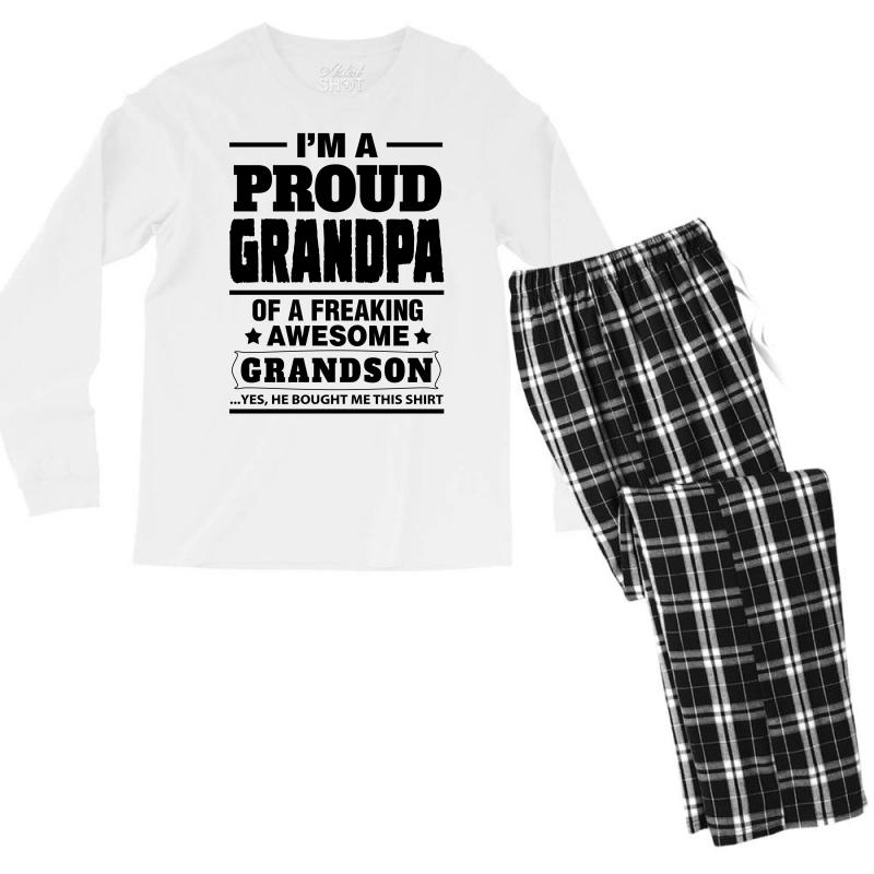 09290332 Custom Proud Grandpa Of A Freaking Awesome Grandson Men's Long Sleeve  Pajama Set By Tshiart - Artistshot