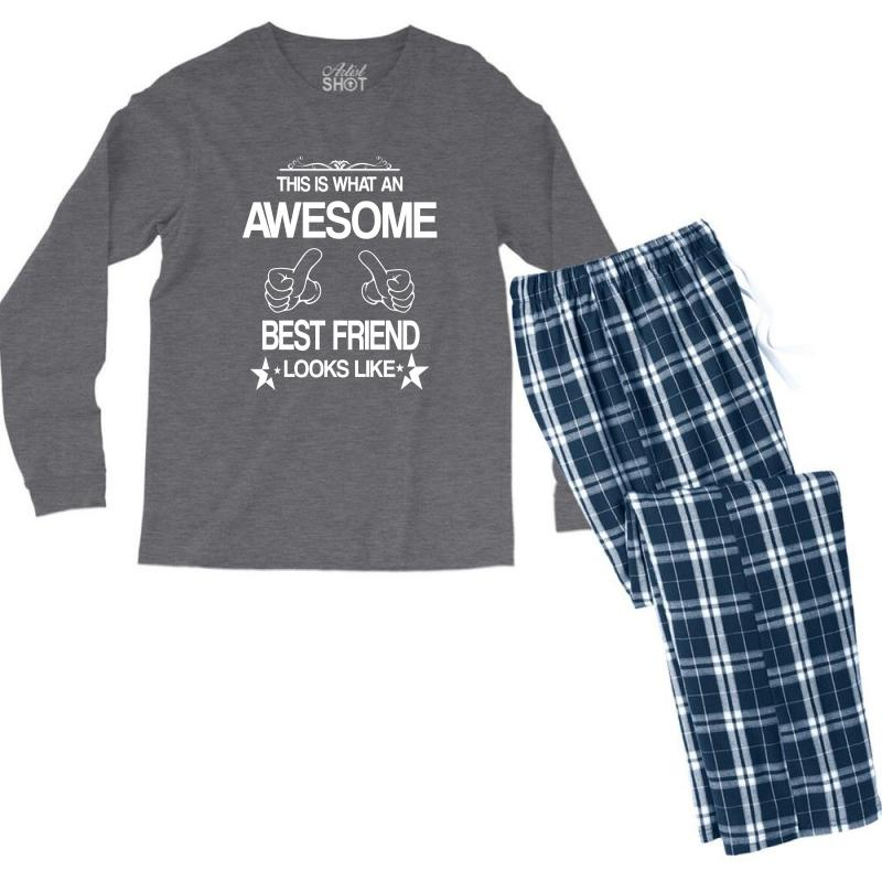 This  Is What An Awesome Best Friend Looks Like Men's Long Sleeve Pajama Set | Artistshot