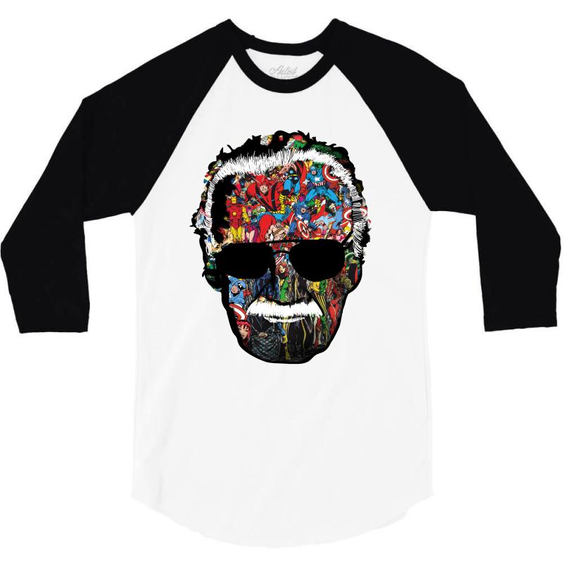 e4e2c5f3 Custom Stan Lee Man Of Many Faces 3/4 Sleeve Shirt By Wizarts ...
