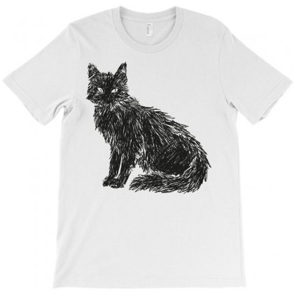 Black Cat Holding On T-shirt Designed By Omer Acar