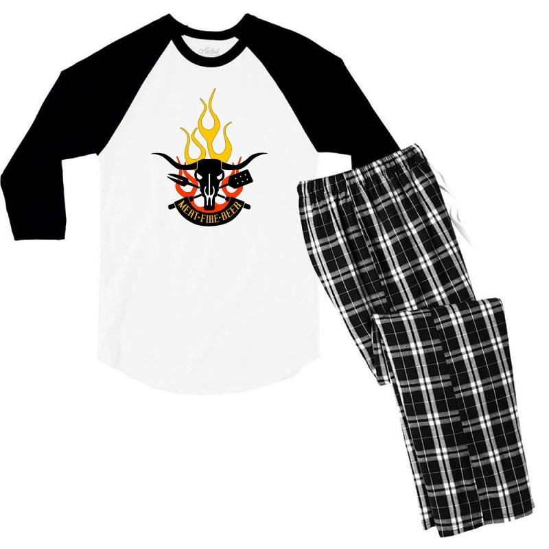 8c732f592 Custom Meat Fire Beer Father's Day Men's 3/4 Sleeve Pajama Set By Yudyud -  Artistshot