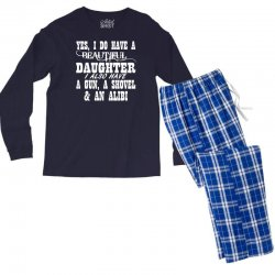 yes i do have a beautiful daughter a gun shovel funny Men's Long Sleeve Pajama Set | Artistshot