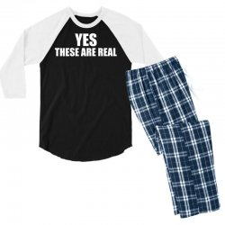 yes these are real funny Men's 3/4 Sleeve Pajama Set | Artistshot