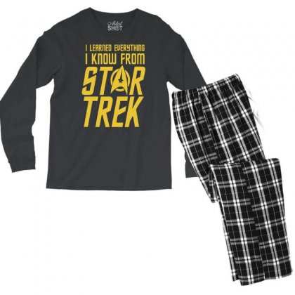 I Learned Everything I Know From Star Trek Men's Long Sleeve Pajama Set Designed By Mdk Art