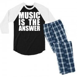music is the answer printed Men's 3/4 Sleeve Pajama Set | Artistshot